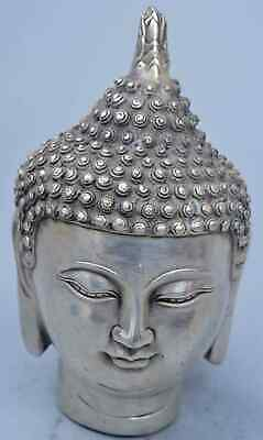 Collectable China Handwork Miao Silver Carve Gracious Buddha Head Tibet Statue