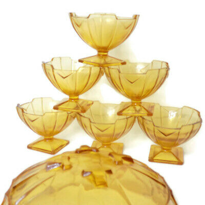 6 Antique ART DECO English Amber Glass Sundae Dessert Dishes SOWERBY Depression