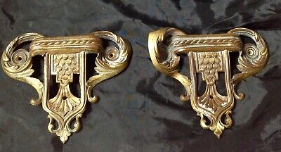Antique Pair Of Decorative French Secessionist Brass Handles