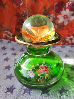 Hand-blown vintage glass bottle colorful glass flask with stopper decorative