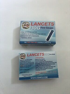 200 US Med 30G Fine Gauge Sterile Lancets Blue 2 Boxes Diabetic Test
