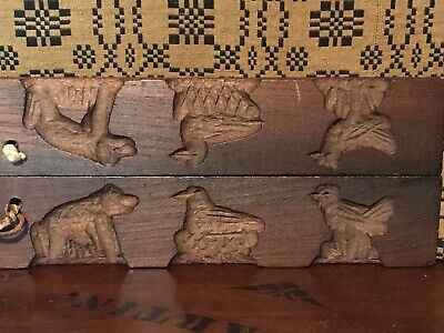 Antique Primitive Folk Art Wood 2 Panel Carved Springerle Animal Mold AAFA