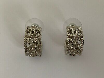 Chanel CC Logo Floral Filigree Cut Out Silver Tone Round Hoop Drop Earrings