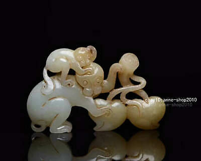 7.1cm collect China natural HeTian Jade Hand carved Animal Monkey Pendant AWSB