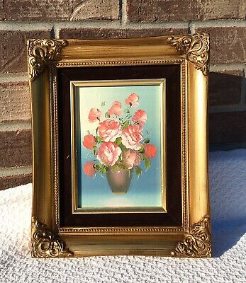 "Vintage Ornate Gold Wood Picture Frame Baroque Style 5""x7"" Floral Oil Painting"