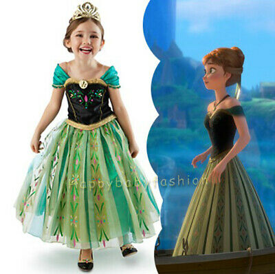 NEW Girls Dress Costume Princess Anna Cosplay Birthday Party size 2 -8 years