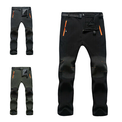 Mens Warm Outdoor Hiking Ski Pants Fleece Padded Windproof Waterproof Trousers