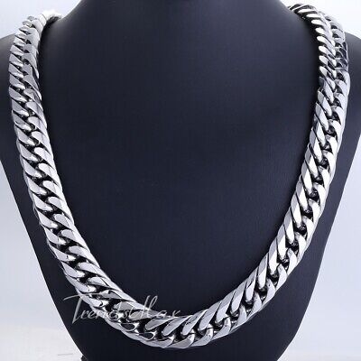HEAVY 15mm Silver Curb Link Rombo Mens Chain Boys 316L Stainless Steel Necklace