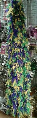 Traditional Mardi Gras Colored Chicken Feathered Boa With Gold Sparkling Shreds.