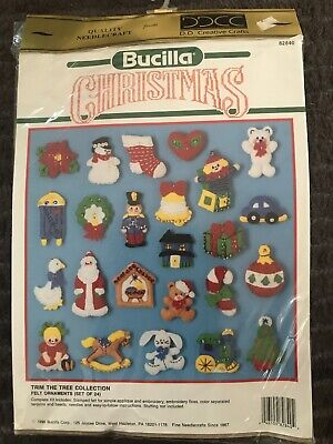 Bucilla Christmas  Trim The Tree Collection Felt Kit #82840 New 24 Ornaments