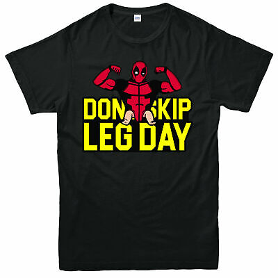 Don't Skip Leg Day T-Shirt, Gym Weightlifting Deadpool Adult & Kids Tee Top
