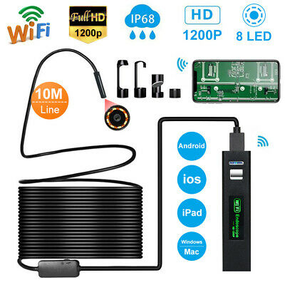 8 LED 1200P WiFi Endoscope Inspection Camera IP68 for iPhone Android PC iPad IOS