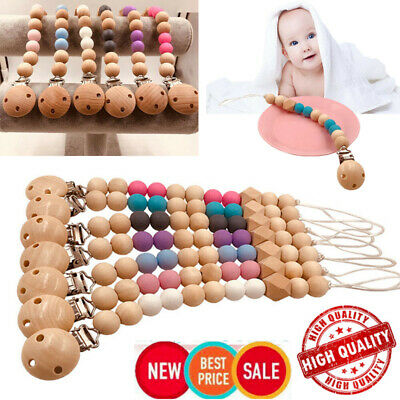 Baby Toddler Infant Dummy Pacifier Soother Nipple Wooden Chain Clip Holder %F