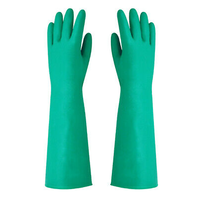 RED PVC GAUNTLETS RUBBER COATED GLOVES DRAIN SINK PIPES CLEAN PROTECTION TOOL