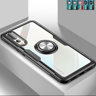 Shockproof Crystal Clear Case Cover Magnetic Ring for Huawei P30 Lite Honor 20