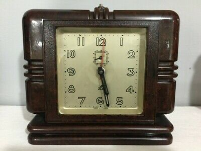 Original French Art Deco Jaz Bakelite Alarm Clock c1930s