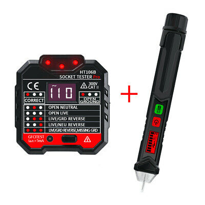 DANIU HT106B Socket Outlet Tester Digital Detector + Winpeak ET8900 Voltage Test