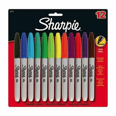 Sharpie Permanent Marker Pens - Fine - Assorted Coloured Markers x 12  - School