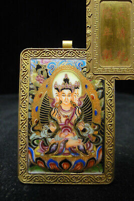 """Chinese Antique Hand Painting Buddha Gilt Metal Panel Marked """"QianLong"""""""