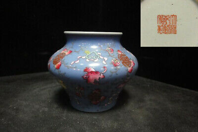 "Antique Chinese Blue Glaze Hand Painting Porcelain Vase Marked ""QianLong"""