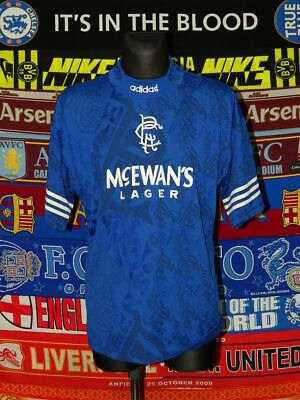 "5/5 Rangers adults L/XL 42""-44"" 1994 MINT home football shirt jersey trikot"