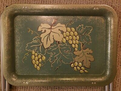 Vintage Cal Dak Tin Metal TV Trays with Stands Set of 4 Green Grapes Leaves