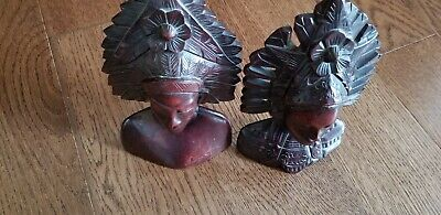 2 Handcarved Wooden Head Statue headresses detailed