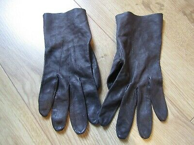 Vintage LADIES dark brown leather gloves   Size 7/8