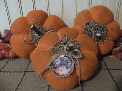 Trio of Primitive Handmade and Painted  Pumpkins - Fall and/or Thanksgiving