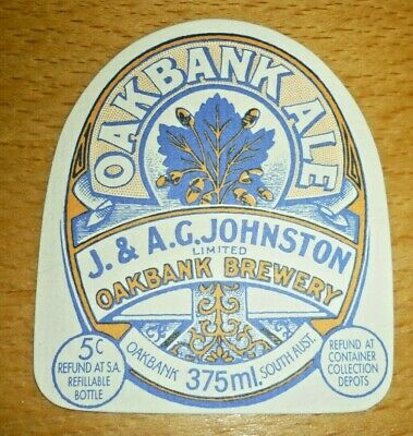 Collectable beer labels -  Oakbank Ale 375ml label MINT (South Australia)