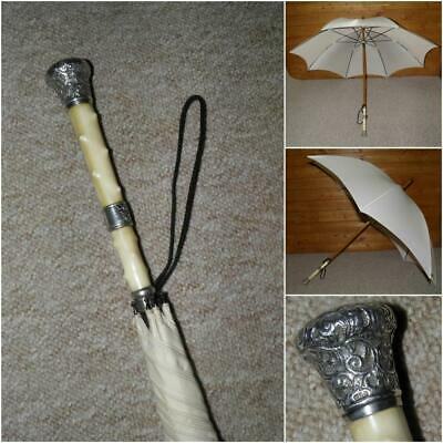 Antique Hallmarked 1890 Repousse Silver Topped Cream Coloured Canopy Umbrella