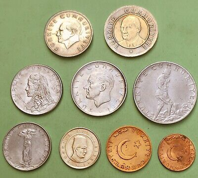 TURKEY:- 9 different mid 20th.to early 21st century circulation coins. AP7760