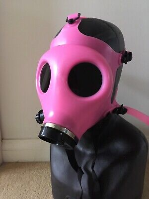Horror Halloween Pink Glow In The Dark Silicone Gas Mask With Black Lenses