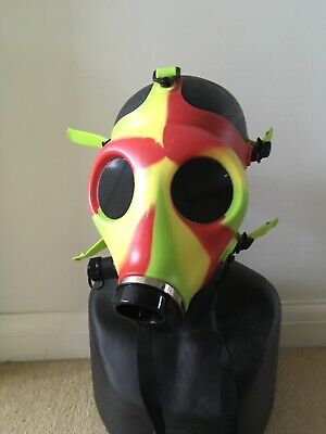 Horror Halloween Multi Coloured  Silicone Gas Mask With Custom Black Lenses