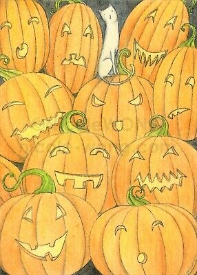 ACEO PRINT - HALLOWEEN - cats pet animals holiday pumpkin jack-o-lantern autumn