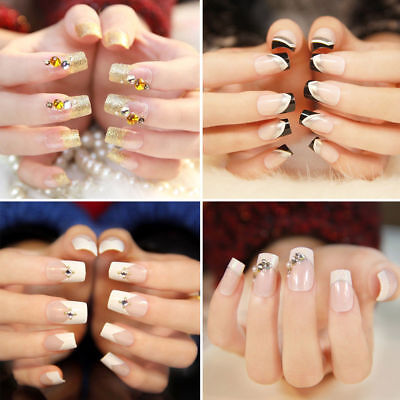 500 Artificial French False Acrylic Nail Art Tips White Clear Natural UV Gel UK