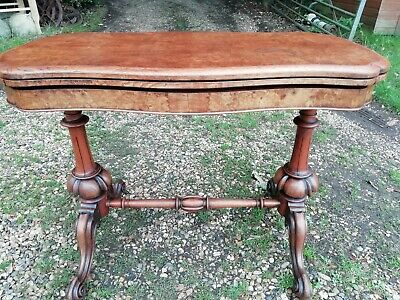 Antique Victorian Double Pedestal Burr Walnut Folding Card Table