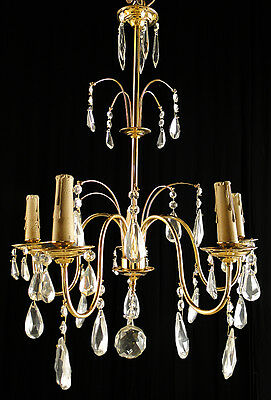 Antique french Louis XV style bronze and glass chandelier Solid polished bronze
