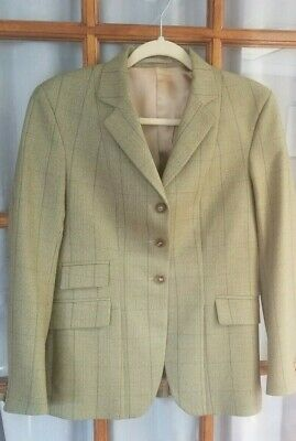 Stunning Horse Country Ladies Green Tweed Riding Jacket size 36-Worn Once!