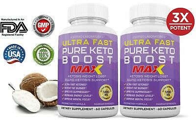 Ultra Fast Pure Keto Boost Max 1200MG Ketogenic BHB Supplement Diet Pills 2 PK