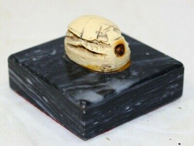 Egyptian Scarab Beetle Bead? Attached to Marble Base Hand Carved
