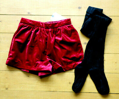 Next Girls Ruby Red Velvet Shorts & Black Tights Set Age 3-4 Years BNWT Tag £18