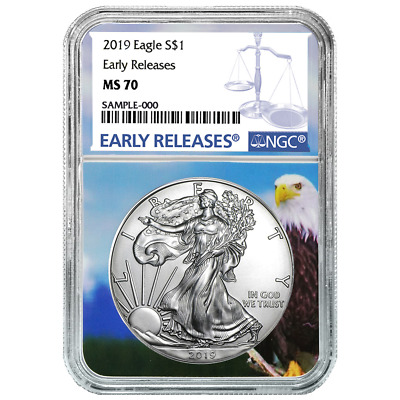 2019 $1 American Silver Eagle NGC MS70 Blue ER Label Eagle Core