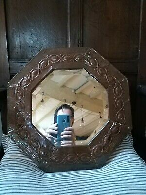 A Fantastic Copper Repousse Arts And Crafts Mirror Bevelled Edge