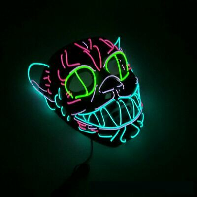 Adult LED Wire Decor Cosplay Costume Light Up Masks Scary Party Halloween Mask