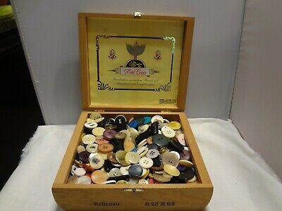 LARGE VINTAGE LOT OF MIXED BUTTONS, Over 2 Lbs. of Buttons in Wood Cigar Box
