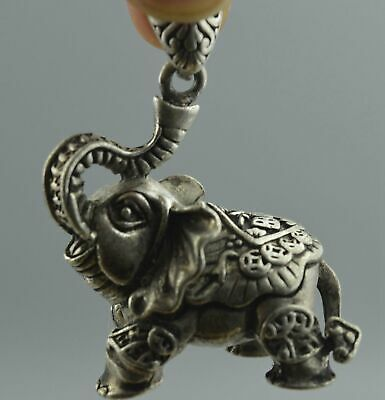 Handwork Collectable Decor Old Miao Silver Carve Flower Elephant Usable Pendant
