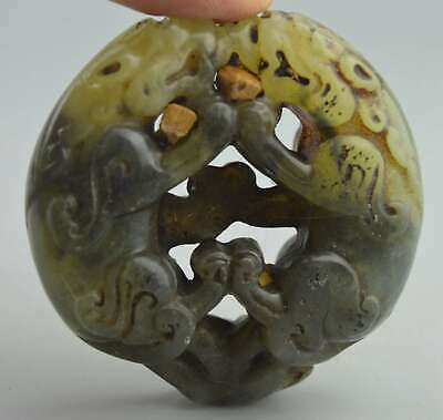 Collectable China Handwork Old Jade Carve Roaring Two Lion Exorcism Evil Pendant