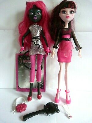 Scaremester Catty Noir, Draculaura, Diary, Accessories Monster High Doll Bundle.