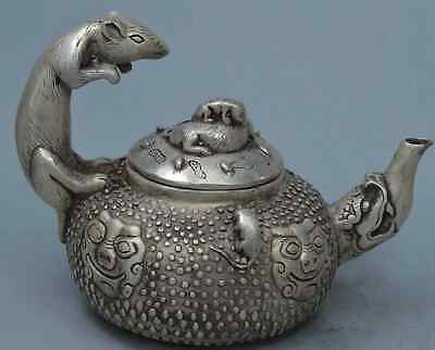 Collection China Handwork Miao Silver Carve Mice & Lion Ancient Exorcism Tea Pot